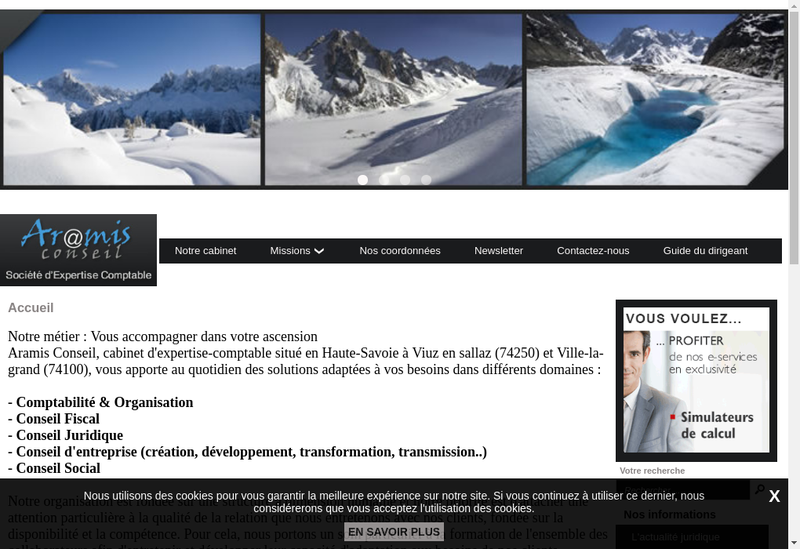 Capture d'écran du site de Aramis Conseil
