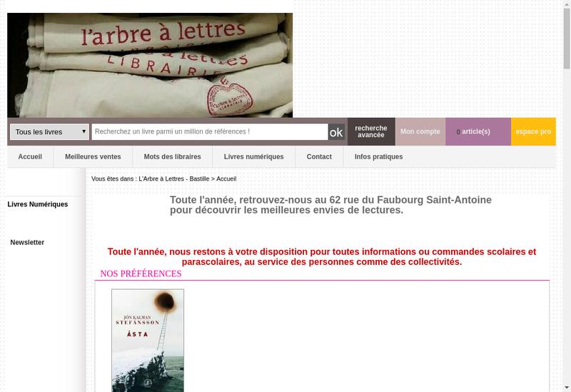 Capture d'écran du site de L'Arbre à Lettre