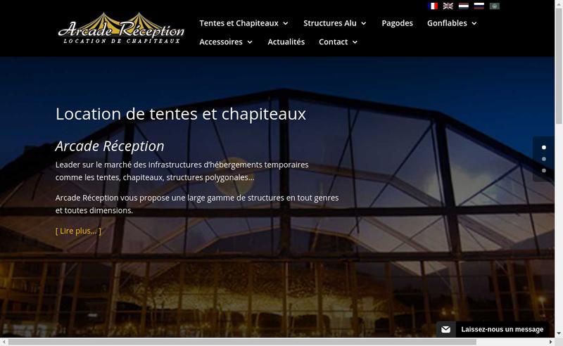Capture d'écran du site de Arcade Reception