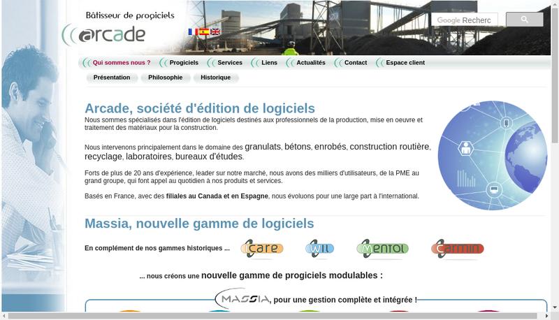 Capture d'écran du site de Arcade