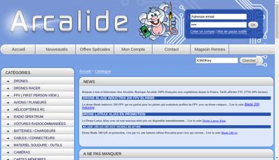 Capture d'écran du site de Arcalide