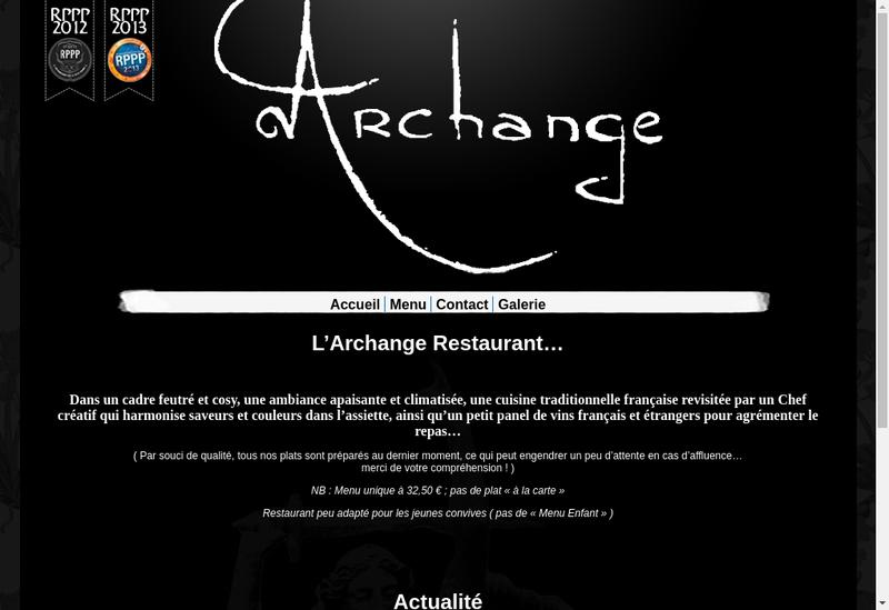 Capture d'écran du site de L'Archange
