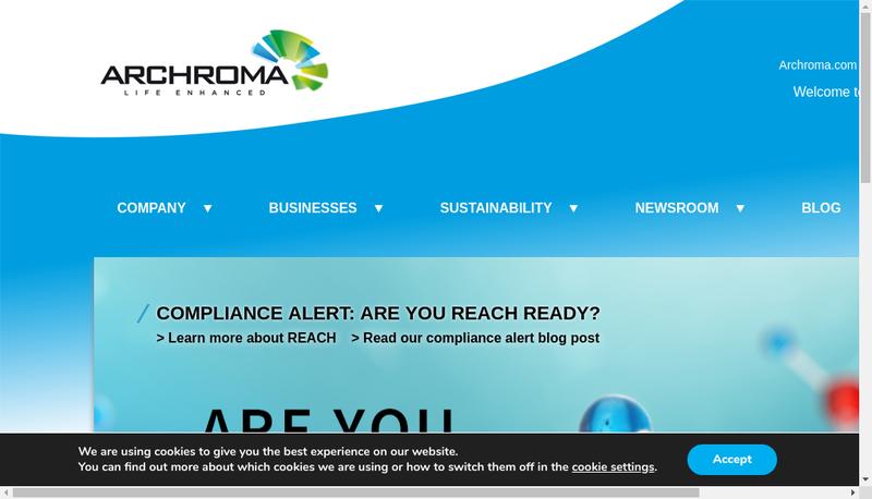 Capture d'écran du site de Archroma France SAS