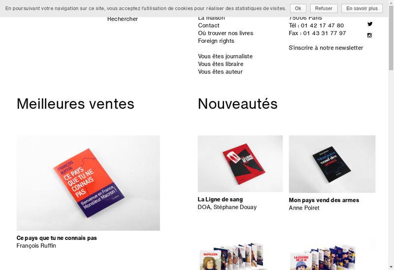 Capture d'écran du site de Editions les Arenes