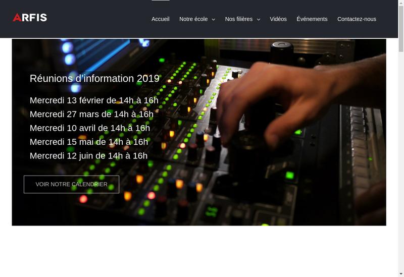 Capture d'écran du site de Arfis Ecole
