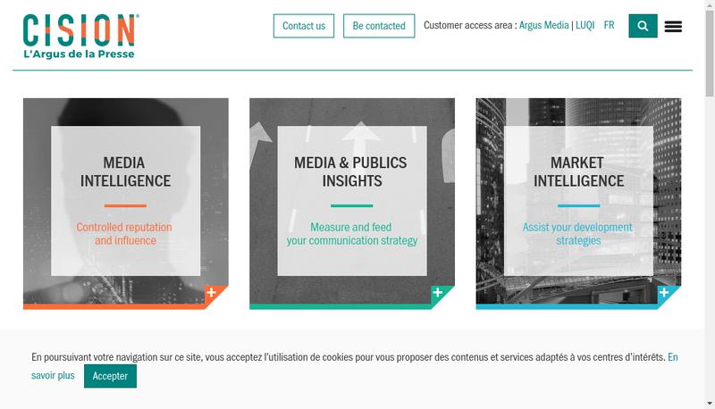 Capture d'écran du site de Argus de la Presse
