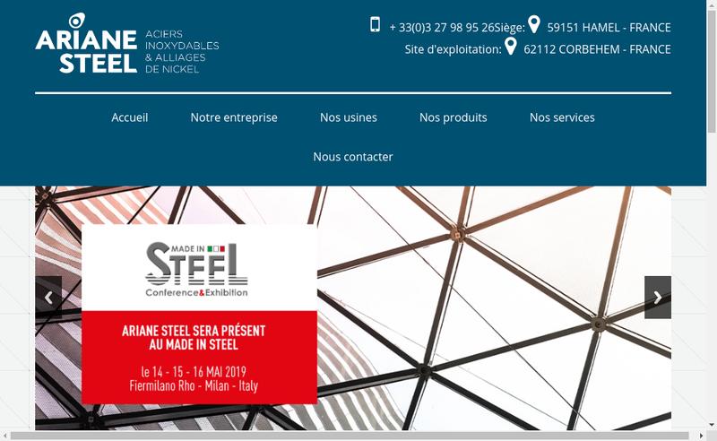 Capture d'écran du site de Ariane Steel