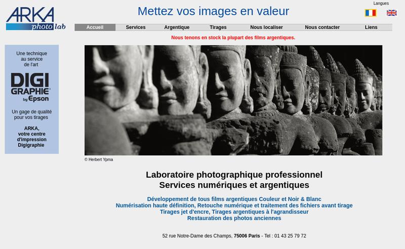 Capture d'écran du site de Arka Laboratoire