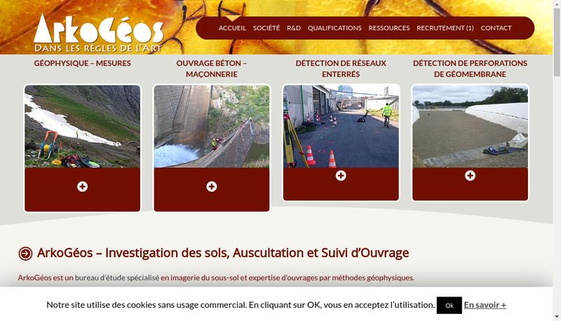 Capture d'écran du site de Arkogeos