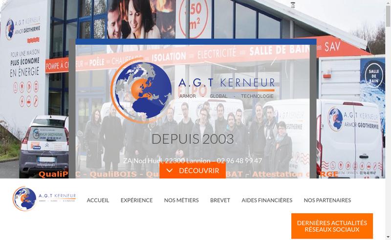 Capture d'écran du site de Armor Geothermie