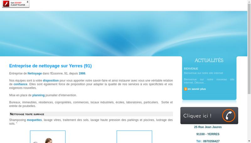Capture d'écran du site de Arnaud Nettoyage