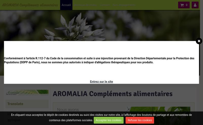 Capture d'écran du site de Aromalia