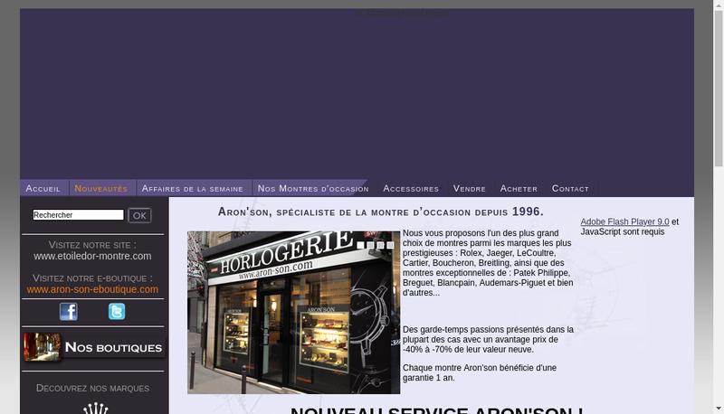 Capture d'écran du site de Aron'Son