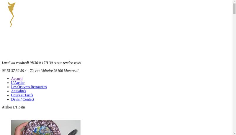 Capture d'écran du site de Art Restauration