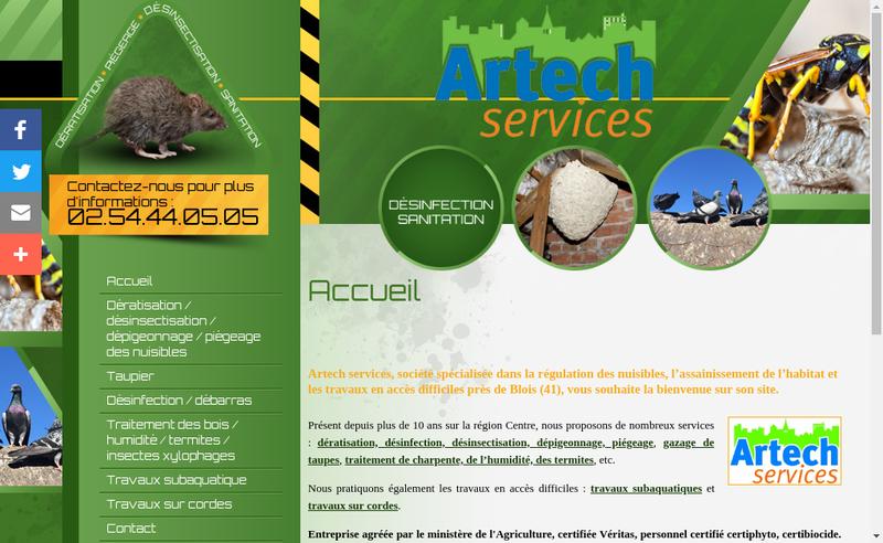 Capture d'écran du site de Artech Services