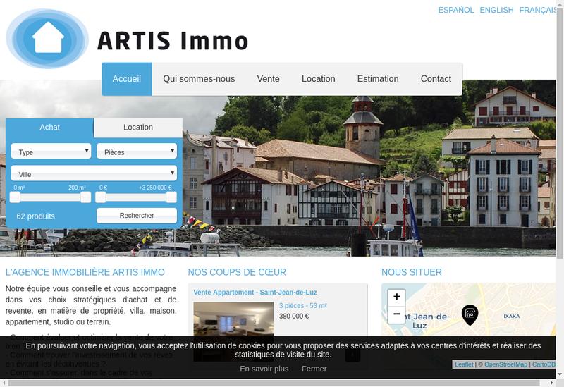 Capture d'écran du site de Artis Immo