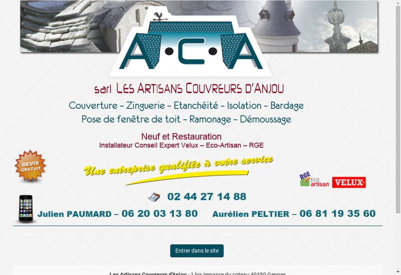 Capture d'écran du site de Artisans Couvreurs d'Anjou