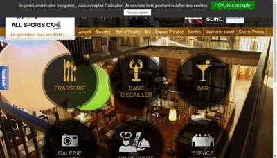 Capture d'écran du site de All Sports Cafe Rouen