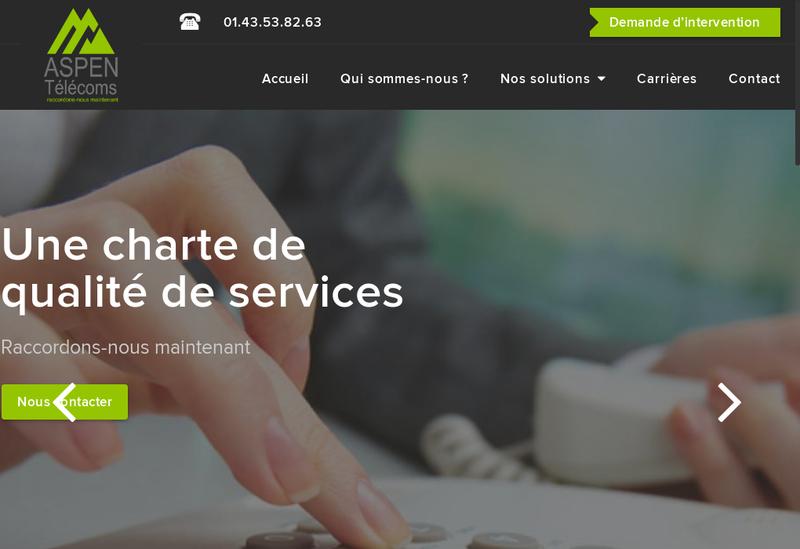 Capture d'écran du site de Aspen Telecoms