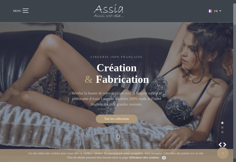 Capture d'écran du site de SARL Assia Lingerie Creation