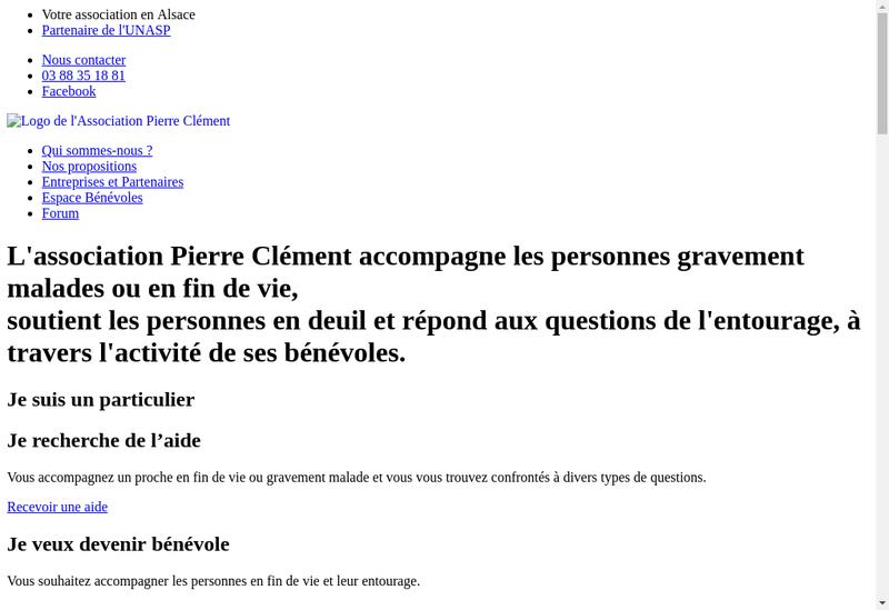Capture d'écran du site de Association Pierre Clement