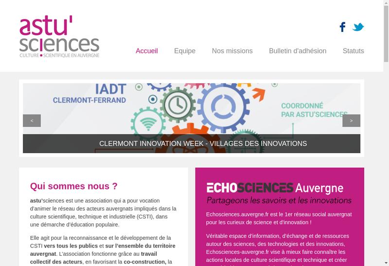 Capture d'écran du site de Astu'Sciences