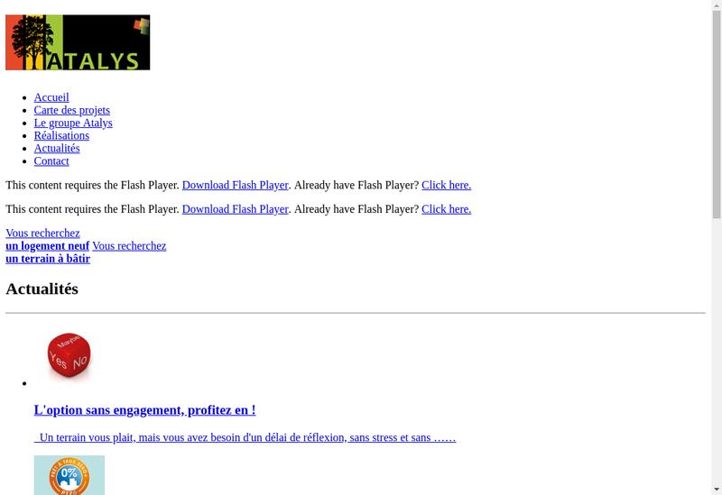 Capture d'écran du site de Atalys