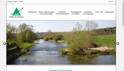 Capture d'écran du site de L'Atelier des Territoires