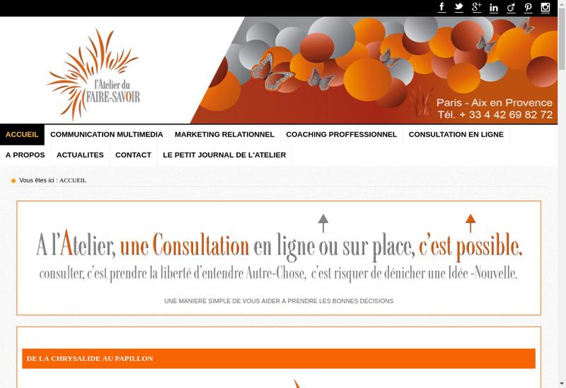 Capture d'écran du site de L'Atelier du Faire Savoir