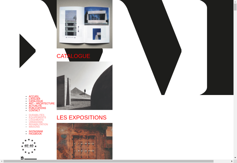 Capture d'écran du site de Atelier Martel