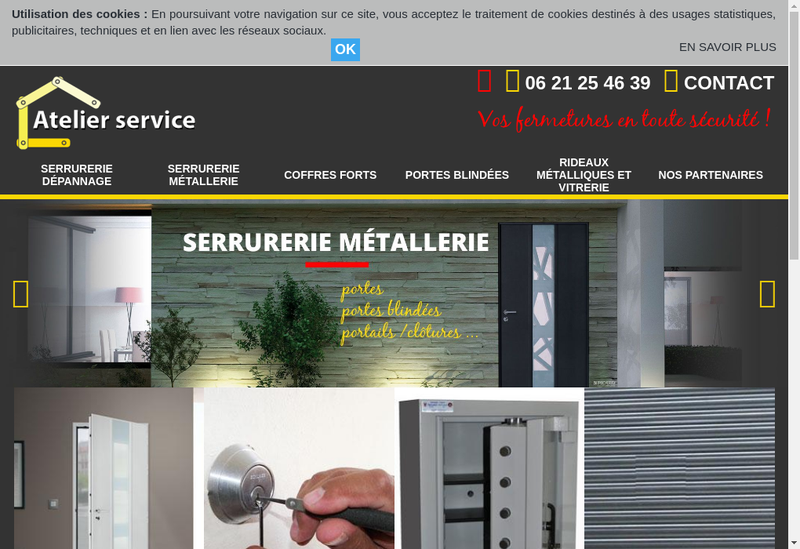 Capture d'écran du site de Atelier Service