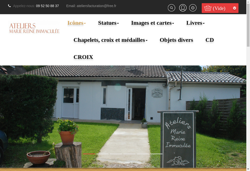 Capture d'écran du site de Ateliers Marie Reine Immaculee