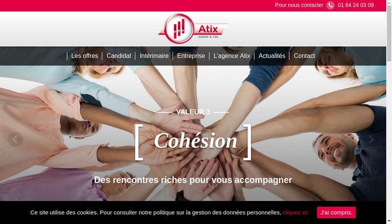 Capture d'écran du site de Atix Interim