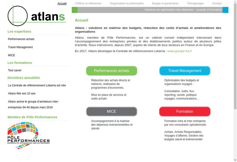 Capture d'écran du site de Atlans