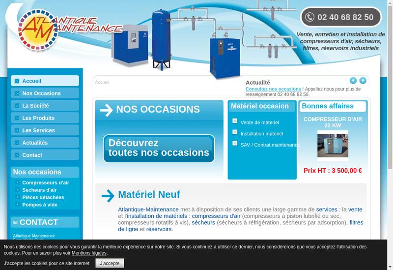 Capture d'écran du site de Atlantique Maintenance Isolation