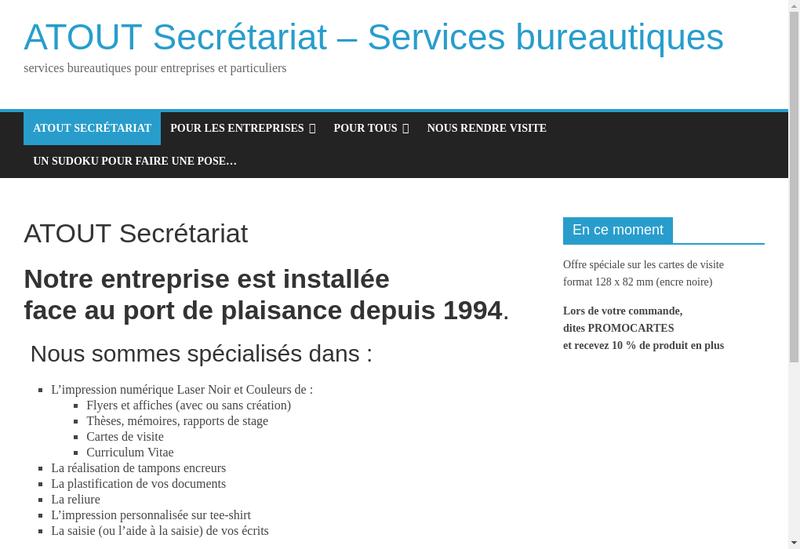Capture d'écran du site de Atout Secretariat
