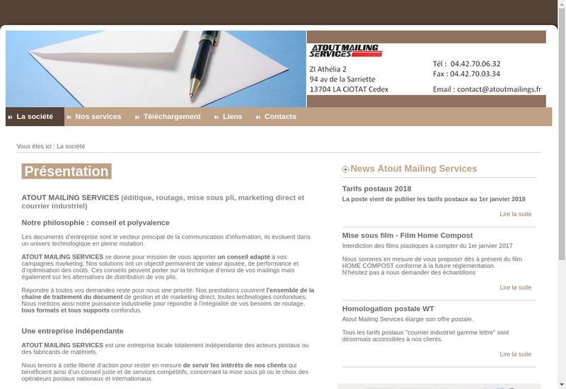 Capture d'écran du site de Atout Mailing Services