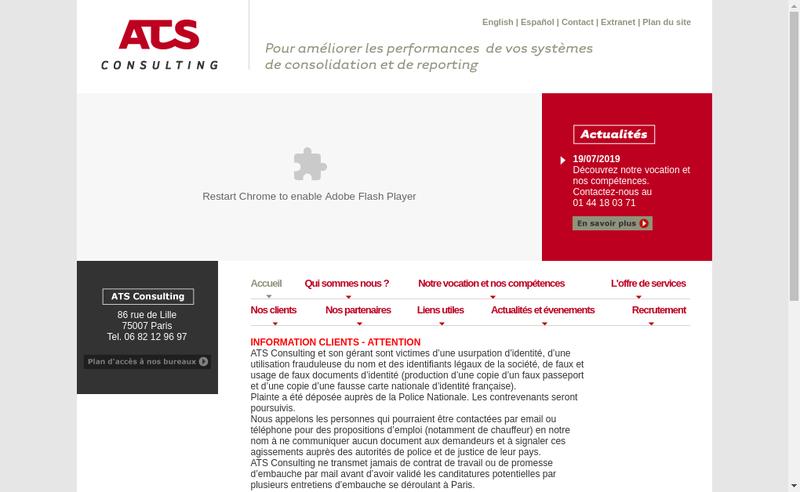 Capture d'écran du site de ATS Consulting