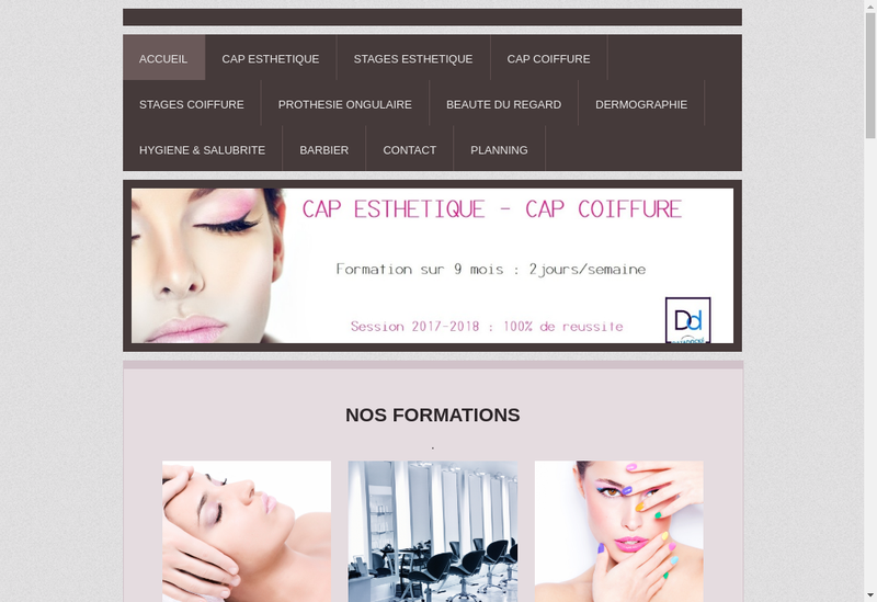 Capture d'écran du site de Attitude Nails Academy