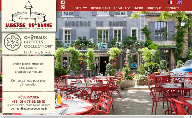 Capture d'écran du site de Auberge de Banne SARL