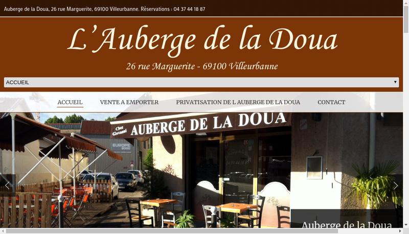 Capture d'écran du site de L'Auberge de la Doua