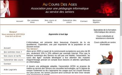 Site internet de Au Cours des Ages
