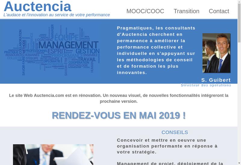 Capture d'écran du site de Auctencia