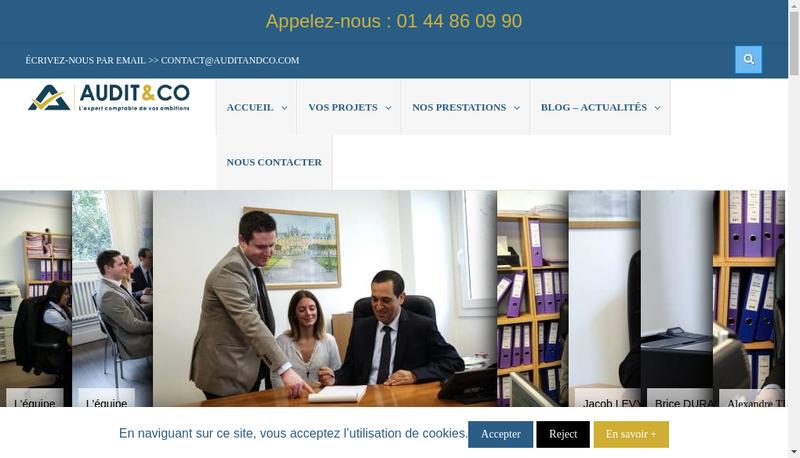 Capture d'écran du site de Audit And Co