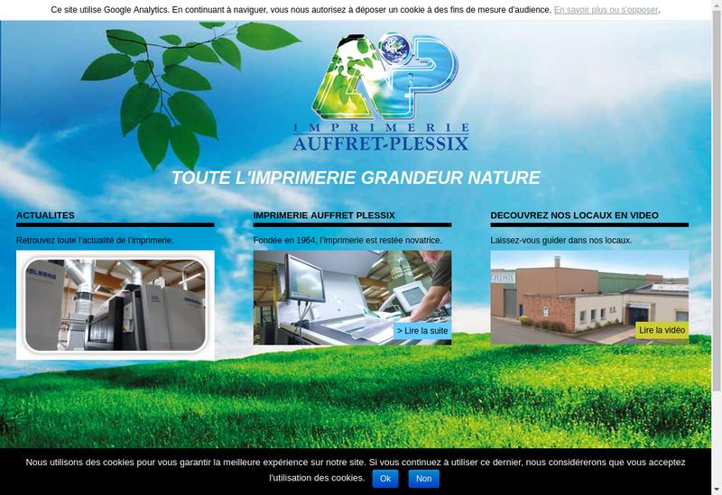 Capture d'écran du site de Imprimerie Auffret Plessix