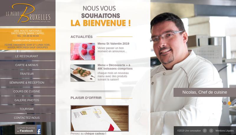 Capture d'écran du site de Restaurant le Petit Bruxelles