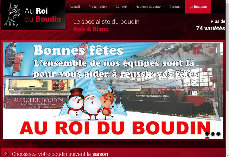 Capture d'écran du site de Au Roi du Boudin