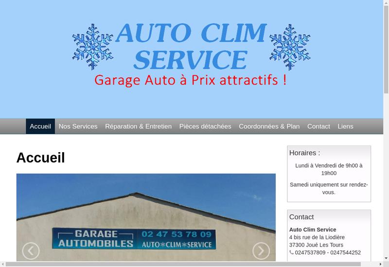 Capture d'écran du site de SARL Auto Clim Service