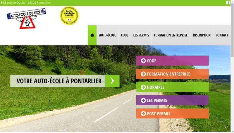 Capture d'écran du site de Auto-Ecole du Lycee