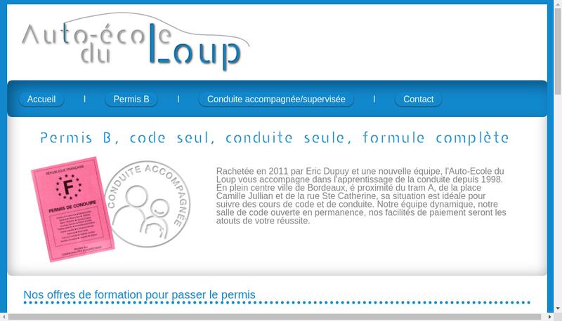 Capture d'écran du site de Auto Ecole du Loup